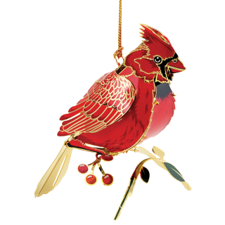 Christmas ornament that looks like a real cardinal sitting on a branch