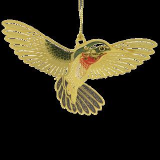 Christmas ornament that looks like a real hummingbird