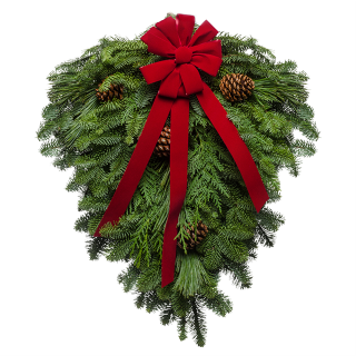 Fresh evergreens gathered together  and decorated with a red velvet bow