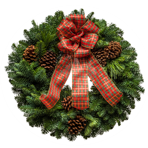 Lovely evergreen Christmas wreath with a plaid bow & pine cones