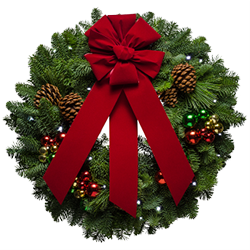 Lighted fresh Christmas wreath with battery operated LED lights and ornaments