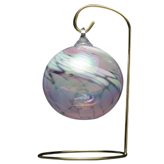 Round pink glass ornament handblown from the volcanic ash of Mount St Helens