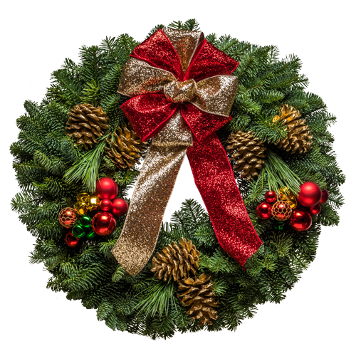 "20"" Fresh Christmas wreaths with red and gold bows & ornaments"