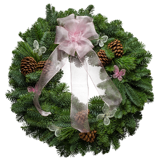 Fresh wreath with a pretty pink organdy bow & pink butterflies