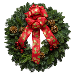Gorgeous Christmas wreaths decorated with gold painted cones & shiny red ornaments