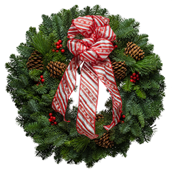 Green Christmas Wreath decorated with a red & white striped bow