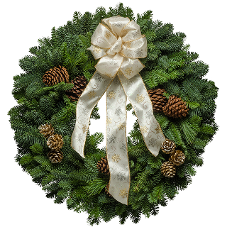 Decorated Christmas wreath with a white brocade bow and painted pine cones