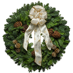 Outdoor Christmas wreaths with white brocade bows and painted pine cones