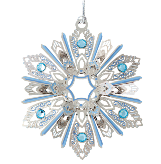 Snowflake Christmas ornament painted blue and silver with glass jewels