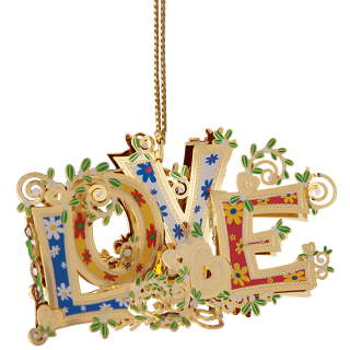 Colorful Christmas ornament spelling out LOVE in the style of the 60s
