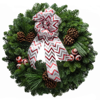 Evergreen Christmas wreath decorated with red swirl ornaments &  bow with red & silver chevons
