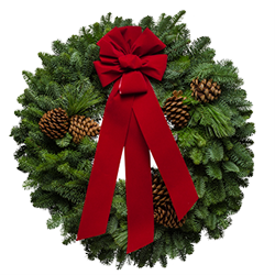 Extra large Christmas wreaths made with fresh evergreens and a red velvet bow