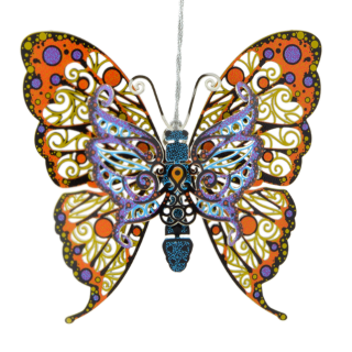 Colorful ornament that looks like a real butterfly and is hand painted