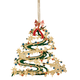 Christmas ornament shaped like a Christmas tree decorated with a red bow on top