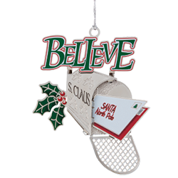 The word Believe is spelled out on the ornament in colorful letters