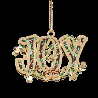 Joy Brass Christmas Ornament