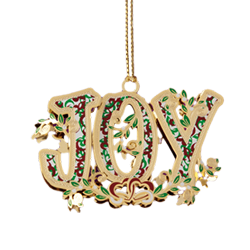 Brass Christmas ornament handcrafted with the letters JOY
