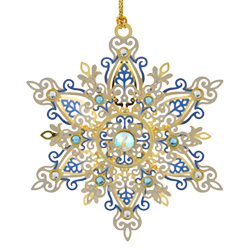 Snowflake Christmas ornament with blue and white glass jewels on the snowflake