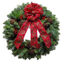 Fresh Christmas wreaths with holly berries & a holly embossed bow