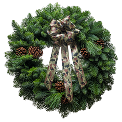 Great smelling fresh Christmas wreath with a matching camo bow
