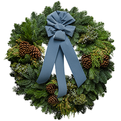 Extra large fresh Christmas wreaths with a French blue velvet bow and blue berries