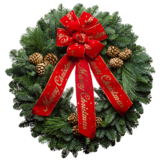 Decorated Christmas wreath with gold painted cones and a red bow with gold lettering