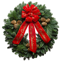 Decorated Christmas wreaths with gold painted cones and a red bow with gold lettering