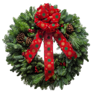 Christmas Wreath with a polka dot bow & and jingle bells