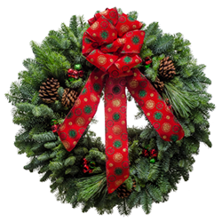 Christmas Wreaths with a polka dot bows & and jingle bells