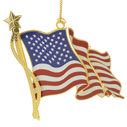 Patriotic ornament in the shape of the American Flag
