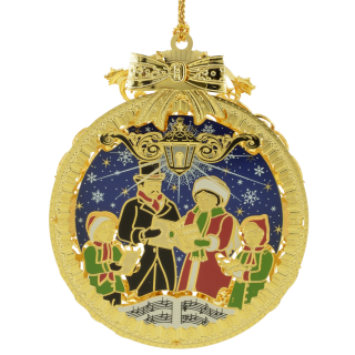 Christmas ornament with a hand painted scene of Christmas carolers