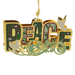 Christmas ornament spelling out the word peace in lovely colors and topped with 2 doves
