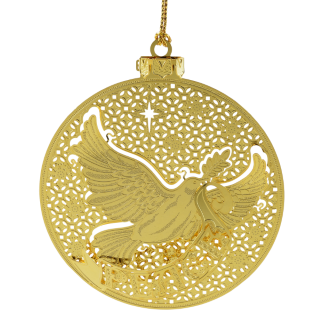 Christmas ornament shaped like a brass medallion with a dove carrying an olive branch
