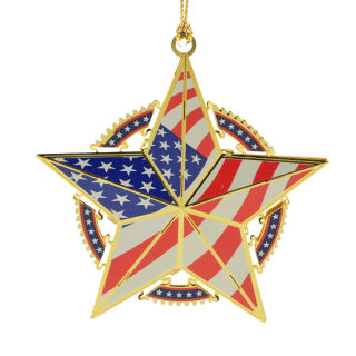 Star shaped American flag ornament handcrafted from brass