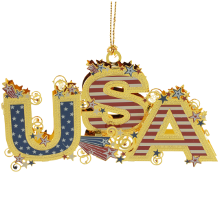 Patriotic ornament spells out USA in colorful letters