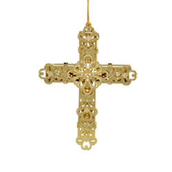 Gold colored cross Christmas ornament made of brass