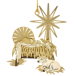 Brass Christian ornament with a miniature manger scene