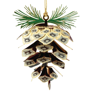 Pine cone ornament made from brass that looks like a real pine cone