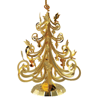 Beautiful brass ornament shaped like a Christmas tree