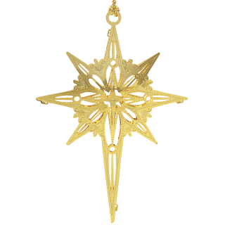 Star of Bethlehem ornament made from brass and finished in 24 k gold