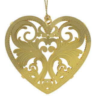 Heart shaped Christmas ornament made from brass and finished in 24kt gold