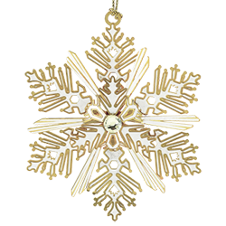 Snowflake Christmas ornament hand made from brass and finished in 24 k gold
