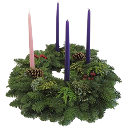 Fresh advent wreath with 4 candle holders for your advent candles