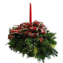 Fresh Christmas centerpiece on oasis foam made with fresh evergreens and a red plaid bow