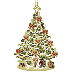 Brass ornament in the shape of a Christmas tree with colorful decorations