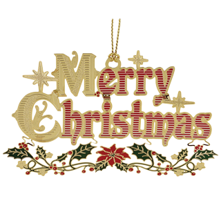 Brass Christmas tree ornament that spells out Merry Christmas in colorful letters