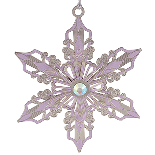 Lavender snowflake Christmas ornament with a glass jewel at the center