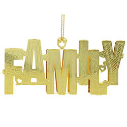Brass Christmas ornament that spells out the word family