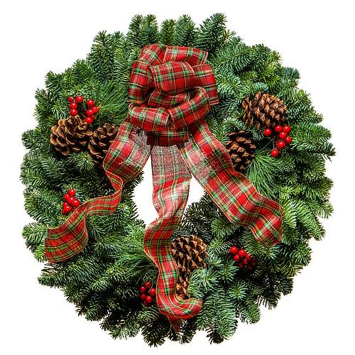 20 Red Tartan Christmas Wreath