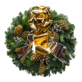 Christmas wreath with silver ornaments and an extra wide gold and silver shiny bow